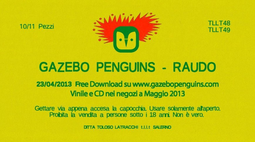 Raudo, nuovo album dei Gazebo Penguins
